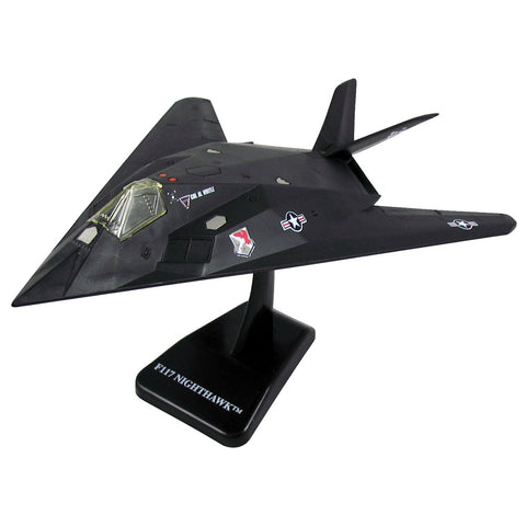 Highly Detailed 1:72 Scale Plastic Model Kit Replica of a Lockheed F-117 Nighthawk Stealth Skunk Works Air Force Aircraft with Detailed Markings and Display Stand that Includes Everything Needed for Assembly.