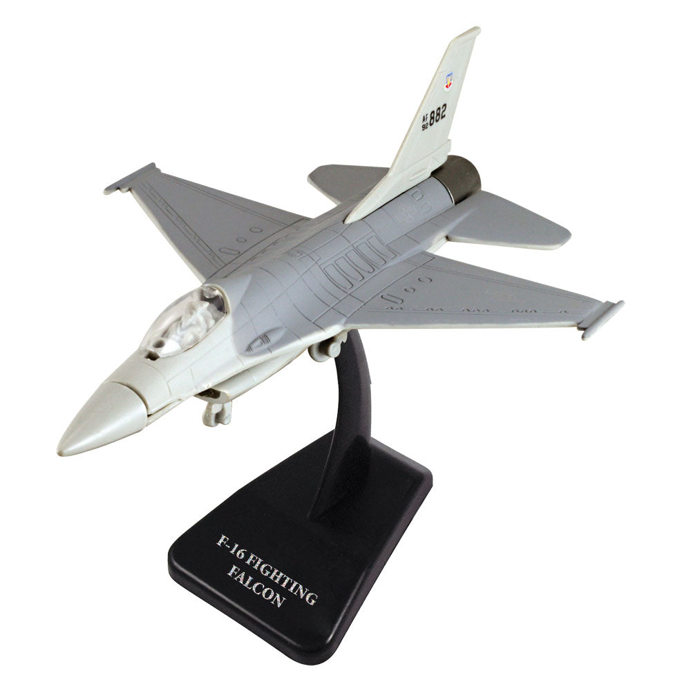 Highly Detailed 1:72 Scale Plastic Model Kit Replica of a General Dynamics F-16 Fighting Falcon Air Force Fighter Aircraft with Detailed Markings and Display Stand that Includes Everything Needed for Assembly.