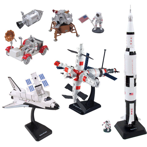 SET of 4 Highly Detailed Plastic Model Kit Replicas of NASA and Soviet Space Explorer Vehicles with Detailed Markings and Display Stands that Include Everything Needed for Assembly. MIR Space Station, Space Shuttle Orbiter, Saturn V Rocket, and Lunar Rover & Lander.