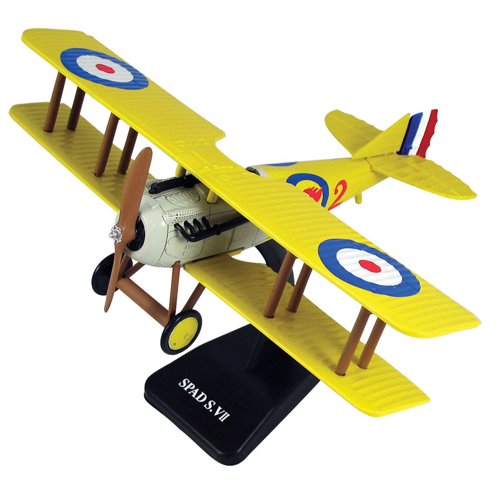 Highly Detailed 1:48 Scale Plastic Model Kit Replica of a SPAD S.VII World War I French Biplane Fighter Aircraft with Detailed Markings and Display Stand that Includes Everything Needed for Assembly.