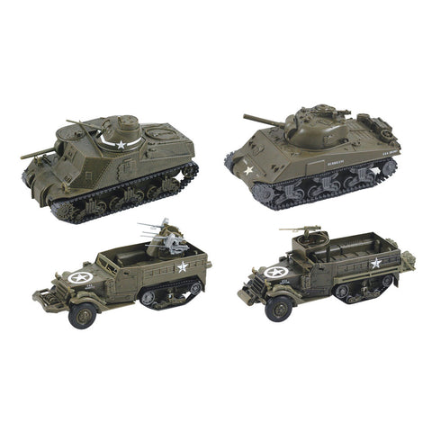 SET of 4 Highly Detailed 1:32 Scale Plastic Model Kit Replicas of World War II Military Tanks that Includes Everything Needed for Assembly and are Built Up in about 10 Minutes measuring 8 Inches once Fully Assembled.