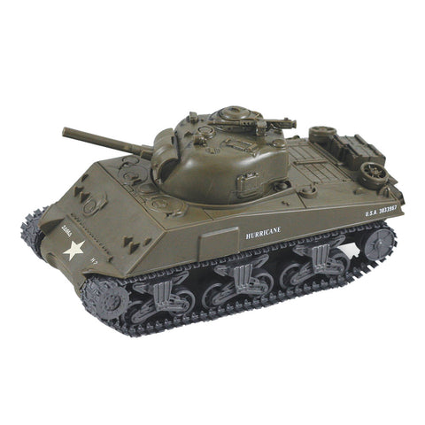 Highly Detailed 1:32 Scale Plastic Model Kit Replica of a World War II M4A3 Sherman Military Tank that Includes Everything Needed for Assembly and is Built Up in about 10 Minutes measuring 8 Inches once Fully Assembled.