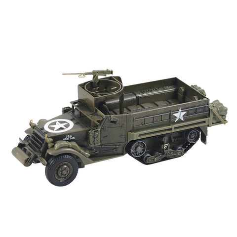 Highly Detailed 1:32 Scale Plastic Model Kit Replica of a World War II M3A1 Half Track Military Tank that Includes Everything Needed for Assembly and is Built Up in about 10 Minutes measuring 8 Inches once Fully Assembled.