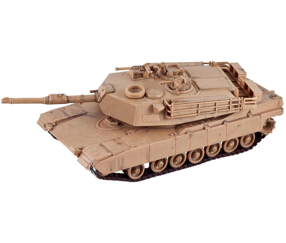 Highly Detailed Battery Operated 1:32 Scale Plastic Model Kit Replica of a Desert Sand M1A1 Abrams Military Tank with Movable Turret, Wheels, and Opening Hatch measuring 9 Inches Once Fully Assembled. On/Off Switch Controls Forward Movement.
