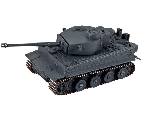 Highly Detailed Battery Operated 1:32 Scale Plastic Model Kit Replica of a Gray Panzer Tiger I Military Tank with Movable Turret, Wheels, and Opening Hatch measuring 9 Inches Once Fully Assembled. On/Off Switch Controls Forward Movement.