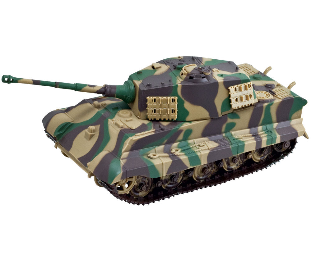 Highly Detailed Battery Operated 1:32 Scale Plastic Model Kit Replica of a Camouflage Panzer King Tiger II Military Tank with Movable Turret, Wheels, and Opening Hatch measuring 9 Inches Once Fully Assembled. On/Off Switch Controls Forward Movement.