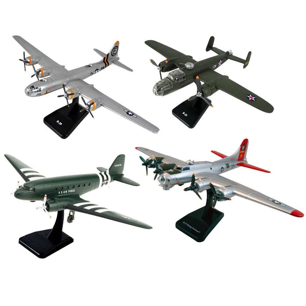 SET of 4 Highly Detailed 1:144 Scale Plastic Model Kit Replicas of World War II Bombers with Detailed Markings and Display Stands that Include Everything Needed for Assembly. B-29 Superfortress, B-25 Mitchell, B-17 Flying Fortress, and C-47 Skytrain AKA DC-10.