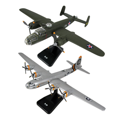 SET of 2 Highly Detailed 1:144 Scale Plastic Model Kit Replicas of World War II Bombers with Detailed Markings and Display Stands that Include Everything Needed for Assembly. B-29 Superfortress, B-25 Mitchell.