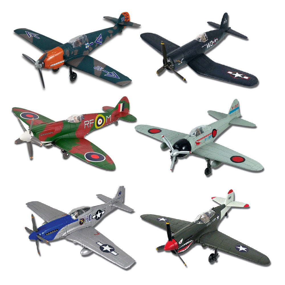 SET of 6 Highly Detailed 1:48 Scale Plastic Model Kit Replicas of World War II Fighters with Detailed Markings and Display Stands that Include Everything Needed for Assembly. P-51 Mustang, P-40 Warhawk, F4U Corsair, Supermarine Spitfire, Mitsubishi Zero, and Messerschmitt BF109.