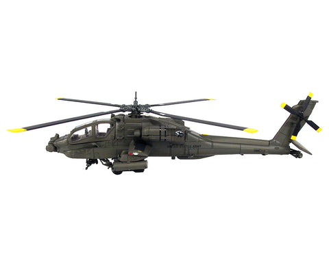 1:55 Scale Die Cast Metal and Plastic Collectible Green Boeing AH-64 Apache Longbow Military Attack Helicopter with Authentic Details, Opening Doors, Spinning Props, Display Stand and Educational Collectors Card.