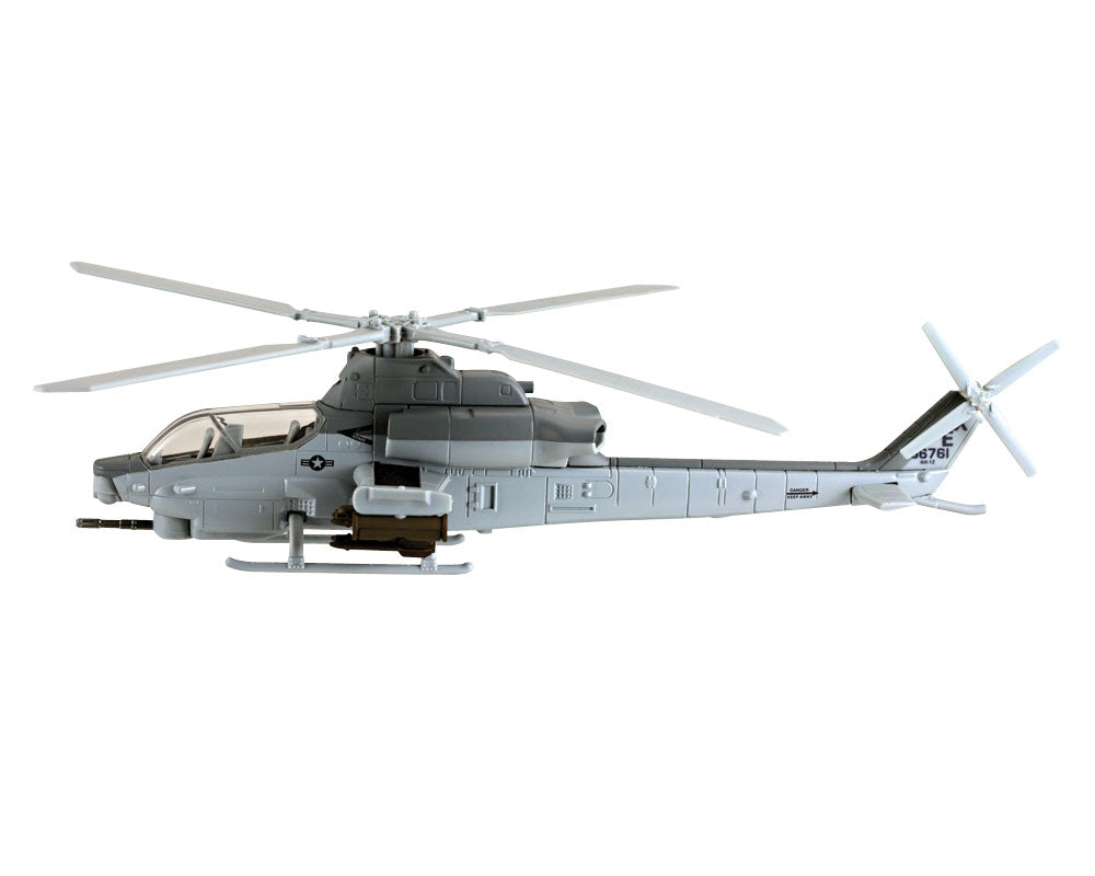 1:55 Scale Die Cast Metal and Plastic Collectible Gray Bell AH-1Z Viper Attack Marine Corps Helicopter with Authentic Details, Opening Doors, Spinning Props, Display Stand and Educational Collectors Card.