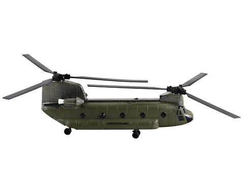 1:55 Scale Die Cast Metal and Plastic Collectible Green Boeing CH-47 Chinook Dual Rotor Heavy Lift Military Helicopter with Authentic Details, Opening Doors, Spinning Props, Display Stand and Educational Collectors Card.