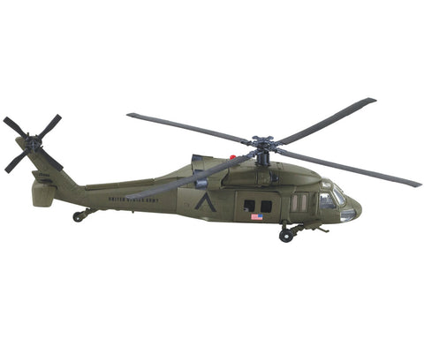 1:60 Scale Die Cast Metal and Plastic Collectible Green Sikorsky UH-60 Black Hawk Military Helicopter with Authentic Details, Opening Doors, Spinning Props, Display Stand and Educational Collectors Card.
