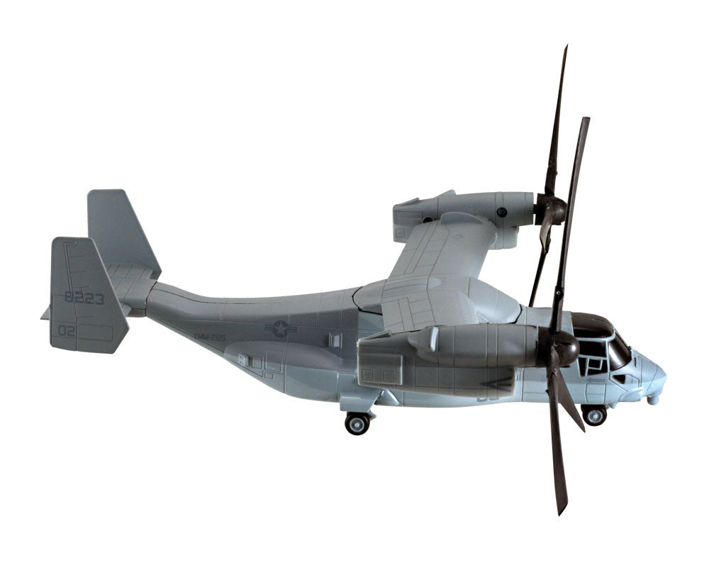 1:72 Scale Die Cast Metal and Plastic Collectible Gray Bell Boeing V-22 Osprey Tilt Rotor Military Helicopter with Authentic Details, Opening Doors, Spinning Props, Display Stand and Educational Collectors Card in Flight Position.