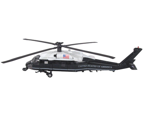 1:60 Scale Die Cast Metal and Plastic Collectible Sikorsky VH-60N White Hawk Presidential Transport Helicopter with Authentic Details, Opening Doors, Spinning Props, Display Stand and Educational Collectors Card.