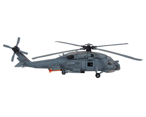 1:60 Scale Die Cast Metal and Plastic Collectible Gray Sikorsky SH-60 Sea Hawk Navy Helicopter with Authentic Details, Opening Doors, Spinning Props, Display Stand and Educational Collectors Card.