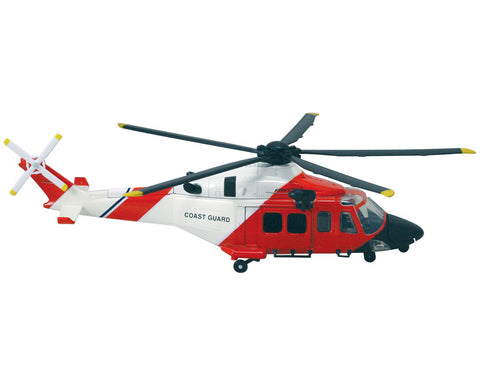 1:43 Scale Die Cast Metal and Plastic Collectible Red & White AgustaWestland AW139 US Coast Guard Helicopter with Authentic Details, Opening Doors, Spinning Props, Display Stand and Educational Collectors Card.