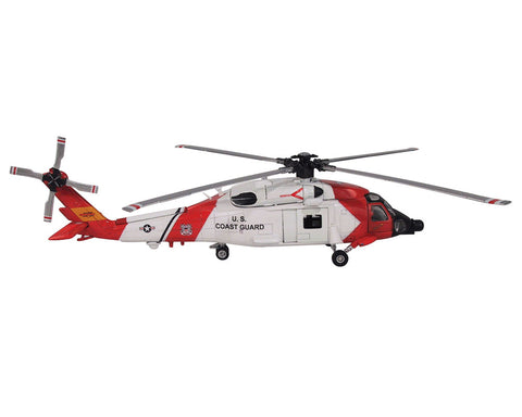 1:60 Scale Die Cast Metal and Plastic Collectible Red & White Sikorsky HH-60 Jayhawk US Coast Guard Helicopter with Authentic Details, Opening Doors, Spinning Props, Display Stand and Educational Collectors Card.