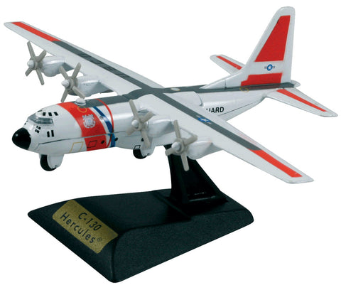 Sturdy Die Cast Metal Scale Replica of a Lockheed Turboprop C-130 Hercules US Coast Guard Transport Aircraft with Authentic Markings & Details, Moving Parts and Display Stand by RedBox / Motormax.
