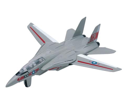 Sturdy Die Cast Metal Scale Replica of a Northrup Grumman F-14 Tomcat Sweep Wing Fighter Aircraft with Authentic Markings & Details, Moving Parts and Display Stand by RedBox / Motormax.