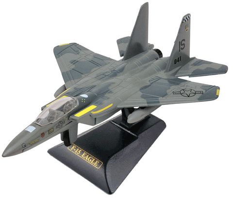 Sturdy Die Cast Metal Scale Replica of a McDonnell Douglas (Boeing) Camouflage F-15 Eagle Tactical Fighter Aircraft with Authentic Markings & Details, Moving Parts and Display Stand by RedBox / Motormax.