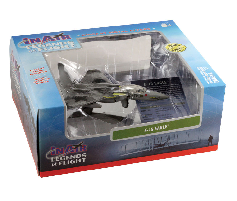 Sturdy Die Cast Metal Scale Replica of a McDonnell Douglas (Boeing) Camouflage F-15 Eagle Tactical Fighter Aircraft with Authentic Markings & Details, Display Stand and Educational Collectors Card in its Original Packaging.