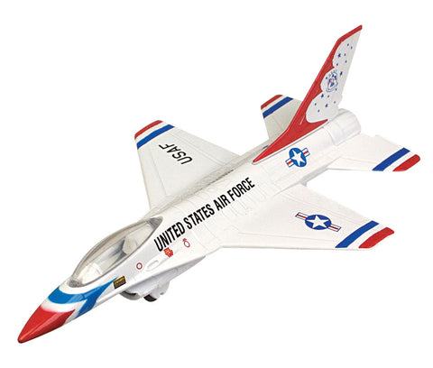 Sturdy Die Cast Metal Scale Replica of a General Dynamics (Lockheed) F-16 Fighting Falcon Thunderbirds Fighter Aircraft with Authentic Markings & Details, Moving Parts and Display Stand by RedBox / Motormax.