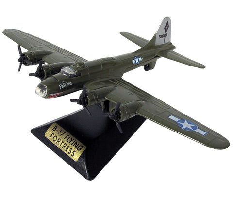 Sturdy Die Cast Metal Scale Replica of a Green Boeing B-17 Flying Fortress World War II Heavy Bomber Aircraft with Authentic Markings & Details, Moving Parts and Display Stand by RedBox / Motormax.
