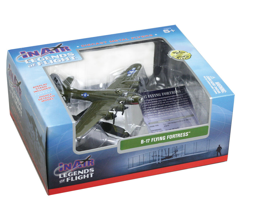 Sturdy Die Cast Metal Scale Replica of a Green Boeing B-17 Flying Fortress World War II Heavy Bomber Aircraft with Authentic Markings & Details, Display Stand and Educational Collectors Card in its Original Packaging.