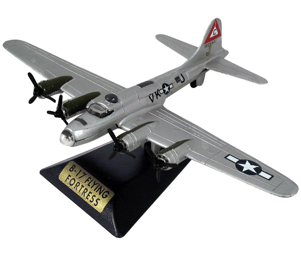 Sturdy Die Cast Metal Scale Replica of a Silver Boeing B-17 Flying Fortress World War II Heavy Bomber Aircraft with Authentic Markings & Details, Moving Parts and Display Stand by RedBox / Motormax.