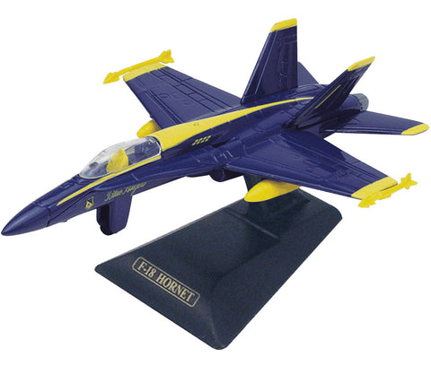 Sturdy Die Cast Metal Scale Replica of a Blue McDonnell Douglas F/A-18 Hornet Blue Angels Combat Jet Fighter Aircraft with Authentic Markings & Details, Moving Parts and Display Stand by RedBox / Motormax.