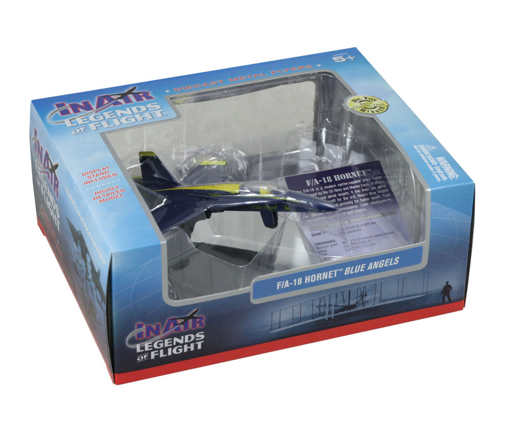 Sturdy Die Cast Metal Scale Replica of a Blue McDonnell Douglas F/A-18 Hornet Blue Angels Combat Jet Fighter Aircraft with Authentic Markings & Details, Display Stand and Educational Collectors Card in its Original Packaging.