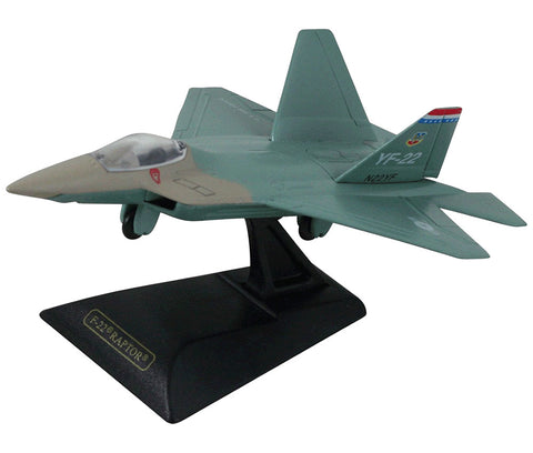 Sturdy Die Cast Metal Scale Replica of a Lockheed Martin F-22 Raptor Stealth Tactical Fighter Aircraft with Authentic Markings & Details, Moving Parts and Display Stand by RedBox / Motormax.