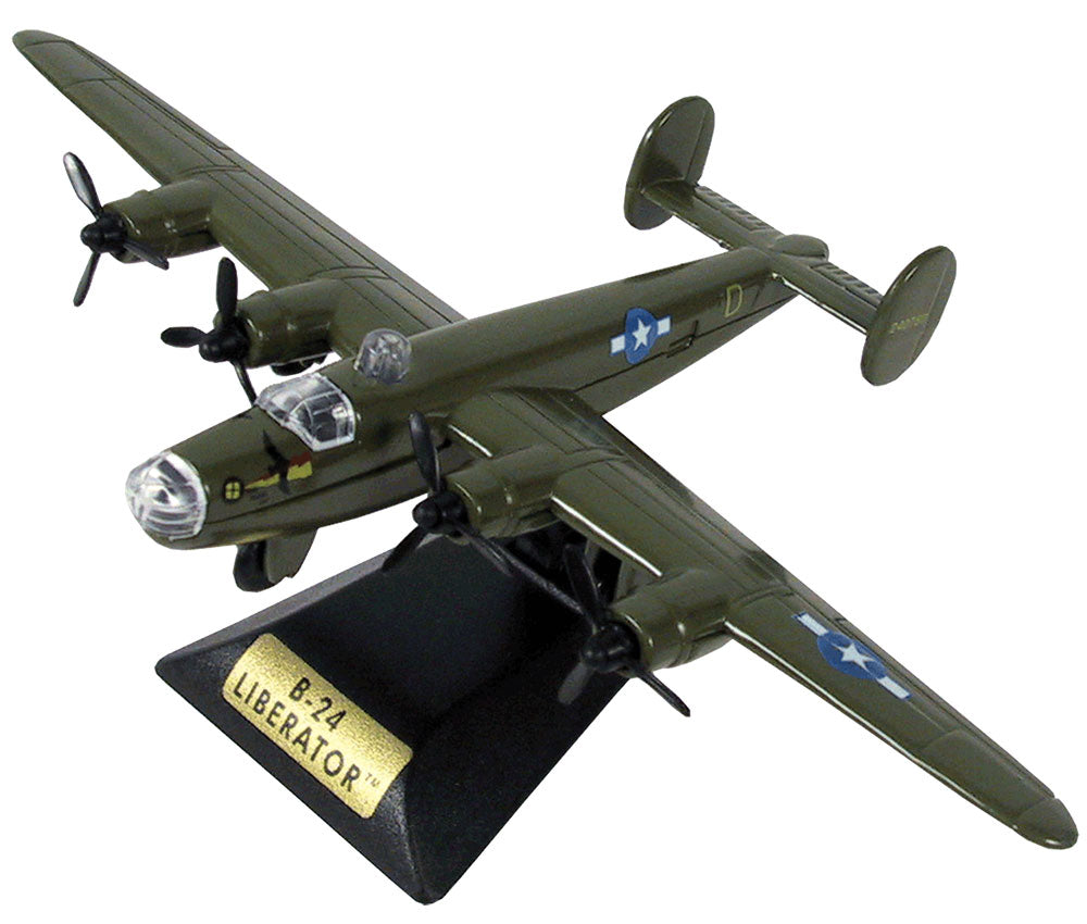 Sturdy Die Cast Metal Scale Replica of a Green Consolidated B-24 Liberator World War II Heavy Bomber Aircraft with Authentic Markings & Details, Moving Parts and Display Stand by RedBox / Motormax.