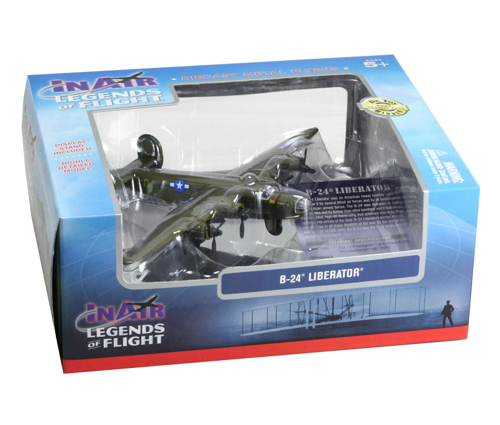 Sturdy Die Cast Metal Scale Replica of a Green Consolidated B-24 Liberator World War II Heavy Bomber Aircraft with Authentic Markings & Details, Display Stand and Educational Collectors Card in its Original Packaging.
