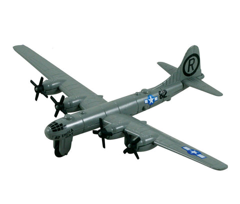 Sturdy Die Cast Metal Scale Replica of a Boeing B-29 Superfortress World War II Heavy Bomber Aircraft with Authentic Markings & Details, Moving Parts and Display Stand by RedBox / Motormax.