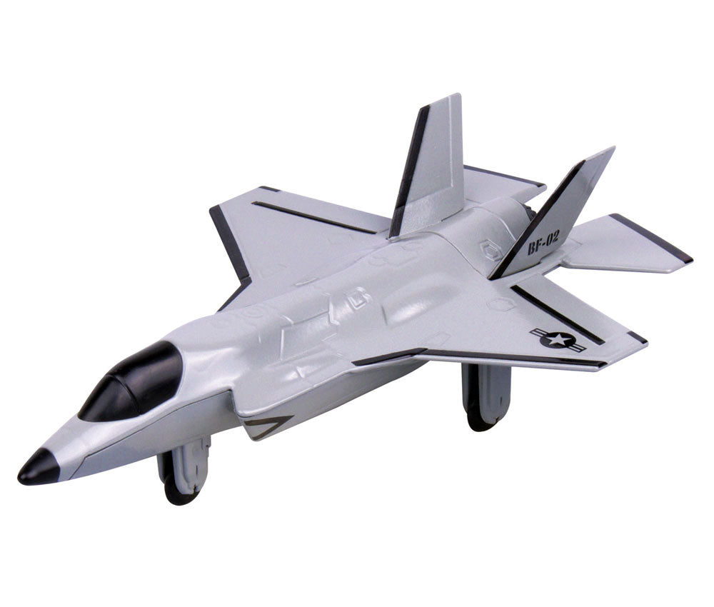 Sturdy Die Cast Metal Scale Replica of a Gray Lockheed Martin F-35 Lightning II Fighter Jet Aircraft with Authentic Markings & Details, Moving Parts and Display Stand by RedBox / Motormax.