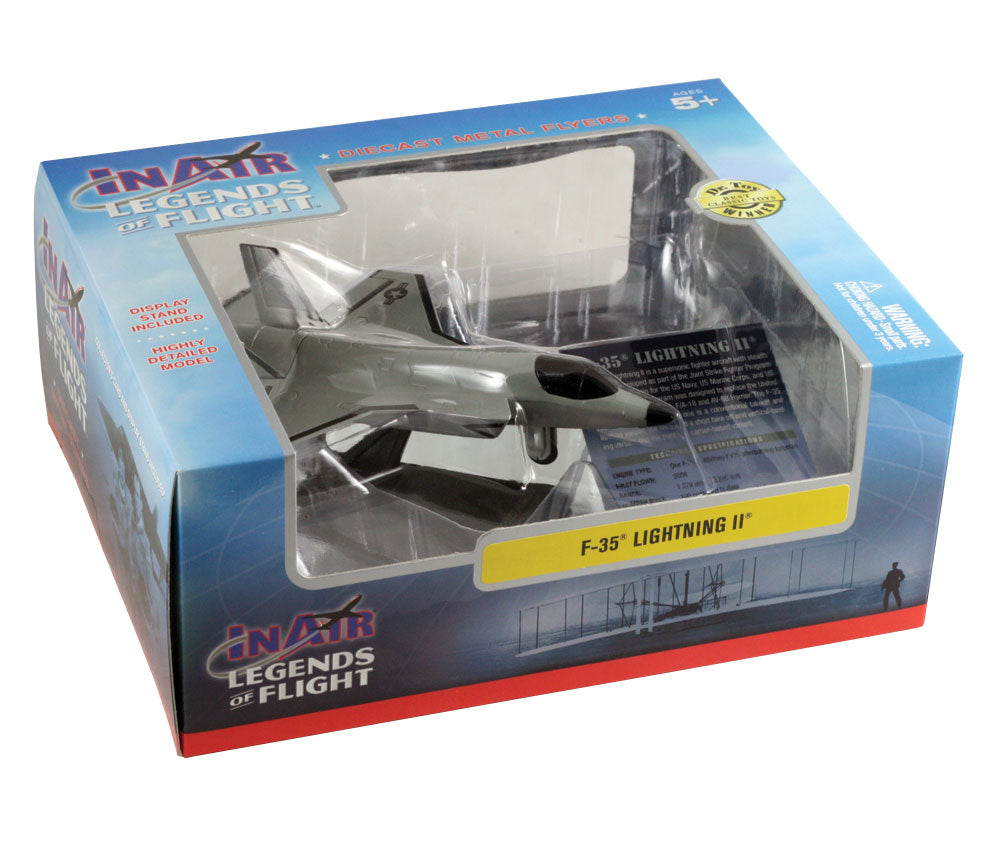 Sturdy Die Cast Metal Scale Replica of a Gray Lockheed Martin F-35 Lightning II Fighter Jet Aircraft with Authentic Markings & Details, Display Stand and Educational Collectors Card in its Original Packaging.