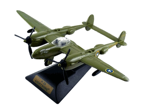 "Sturdy Die Cast Metal Scale Replica of a Green Lockheed P-38 Lightning ""Fork Tailed Devil"" World War II Fighter Aircraft with Authentic Markings & Details, Moving Parts and Display Stand by RedBox / Motormax."