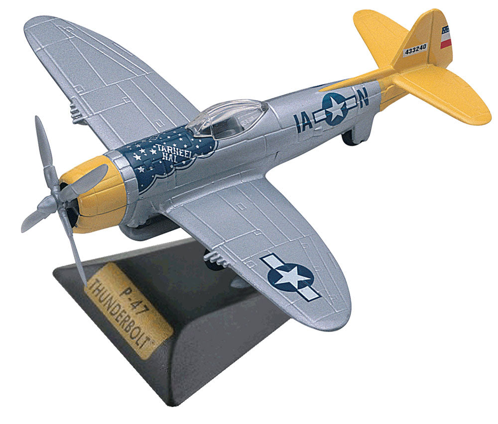 Sturdy Die Cast Metal Scale Replica of a Republic P-47 Thunderbolt World War II Fighter Bomber Aircraft with Authentic Markings & Details, Moving Parts and Display Stand by RedBox / Motormax.