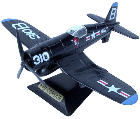 Sturdy Die Cast Metal Scale Replica of a Blue Vought F4U Corsair World War II Bent Wing Fighter Aircraft with Authentic Markings & Details, Moving Parts and Display Stand by RedBox / Motormax.