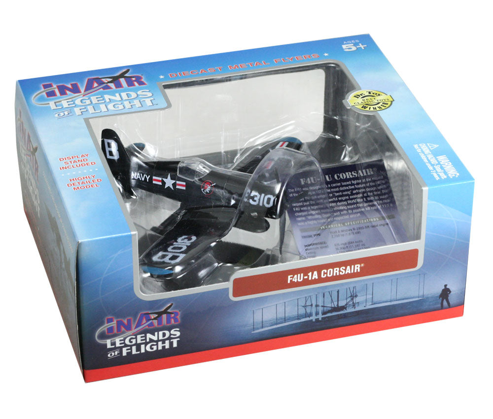 Sturdy Die Cast Metal Scale Replica of a Blue Vought F4U Corsair World War II Bent Wing Fighter Aircraft with Authentic Markings & Details, Display Stand and Educational Collectors Card in its Original Packaging.