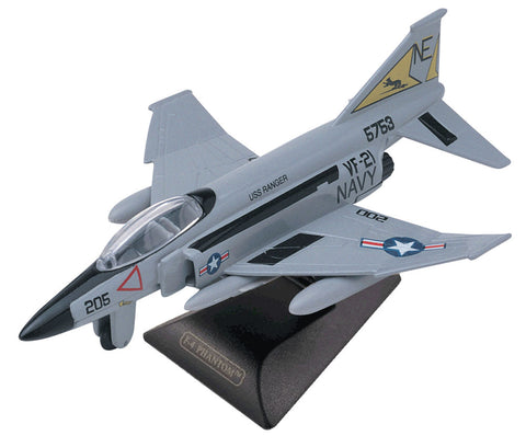 Sturdy Die Cast Metal Scale Replica of a McDonnell Douglas F-4 Phantom II Supersonic Jet Fighter Bomber Aircraft with Authentic Markings & Details, Moving Parts and Display Stand by RedBox / Motormax.