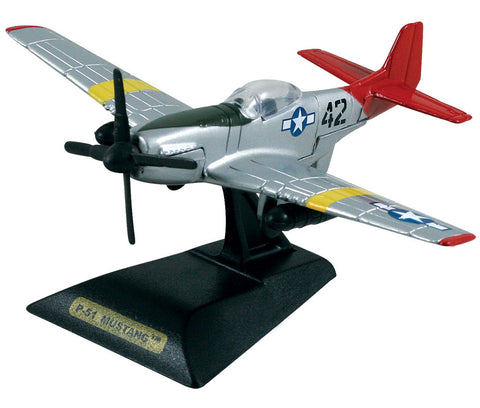 "Sturdy Die Cast Metal Scale Replica of a North American P-51 Mustang Tuskegee Airman ""Red Tails"" World War II Fighter Aircraft with Authentic Markings & Details, Moving Parts and Display Stand by RedBox / Motormax."