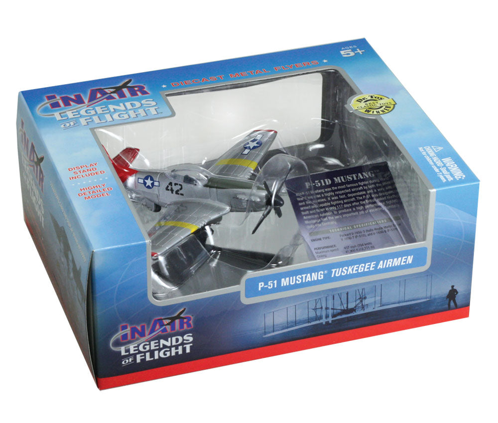 "Sturdy Die Cast Metal Scale Replica of a North American P-51 Mustang Tuskegee Airman ""Red Tails"" World War II Fighter Aircraft with Authentic Markings & Details, Display Stand and Educational Collectors Card in its Original Packaging."