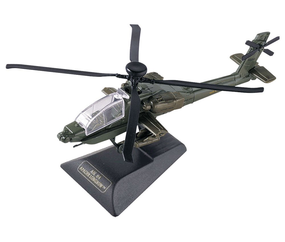 Sturdy Die Cast Metal Scale Replica of a Green Boeing AH-64 Apache Longbow Helicopter Aircraft with Authentic Markings & Details, Moving Parts and Display Stand by RedBox / Motormax.