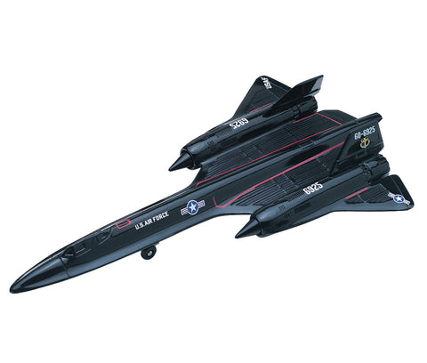 Sturdy Die Cast Metal Scale Replica of a Black Lockheed SR-71 Blackbird Stealth Reconnaissance Aircraft with Authentic Markings & Details, Moving Parts and Display Stand by RedBox / Motormax.