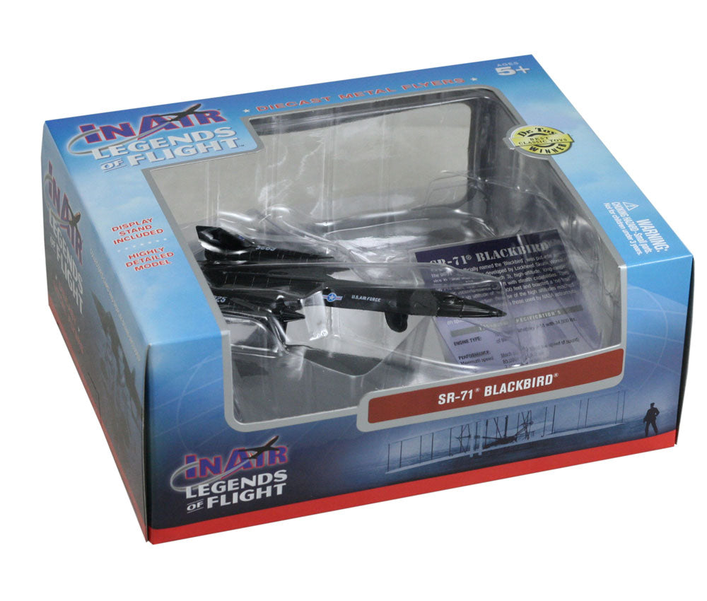 Sturdy Die Cast Metal Scale Replica of a Black Lockheed SR-71 Blackbird Stealth Reconnaissance Aircraft with Authentic Markings & Details, Display Stand and Educational Collectors Card in its Original Packaging.
