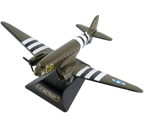 Sturdy Die Cast Metal Scale Replica of a Douglas C-47 Skytrain (DC-3) World War II Military Transport Aircraft with Authentic Markings & Details, Moving Parts and Display Stand by RedBox / Motormax.