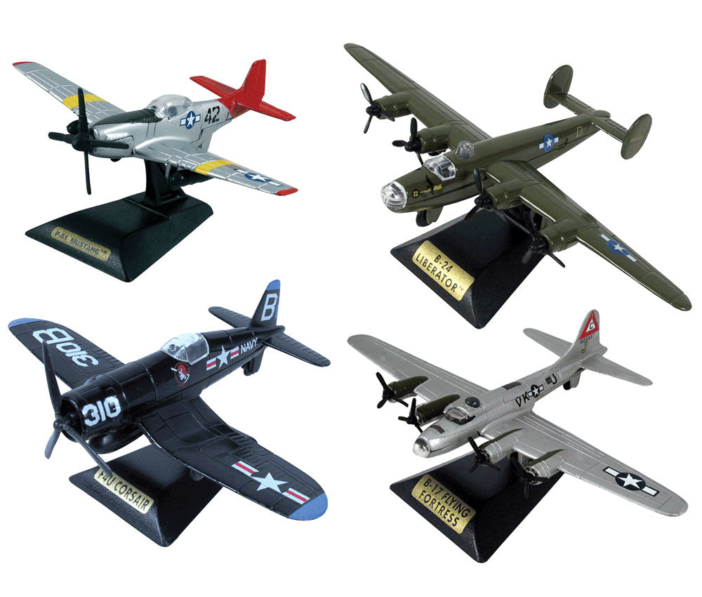 "SET of 4 Sturdy Die Cast Metal Scale Replica of World War II Fighter Bomber Aircraft with Authentic Markings & Details, Moving Parts and Display Stands. P-51 Mustang ""Red Tails"" Tuskegee Airman, B-24 Liberator, Vought F4U Corsair, & B-17 Flying Fortress."